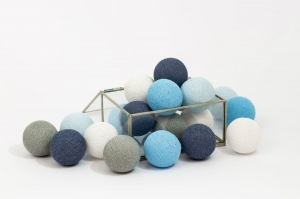 Zestaw lampek Cotton Balls Blue Wind