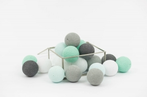 Zestaw lampek Cotton Balls Mint Love
