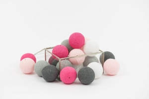 Zestaw lampek Cotton Balls Pink Rocks