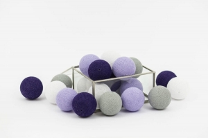 Zestaw lampek Cotton Balls Purple Fog