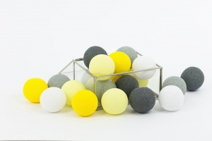 Zestaw lampek Cotton Balls Smokey Yellow