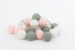 Zestaw lampek Cotton Balls Soft Powder