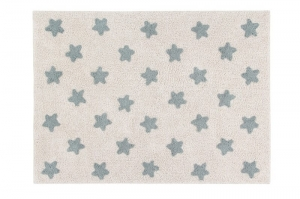 Lorena Canals Dywan bawełniany Stars Natural - Vintage Blue 120 x 160 cm